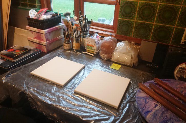 Midlertidigt atelier i det gamle køkken